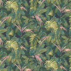 Lush Green/Pink Wallpaper By Woodchip & Magnolia Lush Green, Pink And Green, Pink Velvet Curtains, Plant Painting, Green Home Decor, Design Repeats, Green Wallpaper, Painted Leaves, Wallpaper Samples