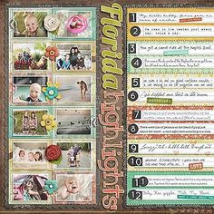 Vacation highlights scrapbook layout great for communicating a lot of info a small space!