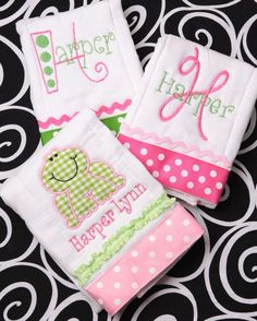 Embroidery Projects Personalized Embroidered Applique Girly Frog Baby Burp Cloth Collection Pink and Lime; Baby Embroidery, Machine Embroidery Applique, Embroidery Ideas, Viking Embroidery, Brother Embroidery, Baby Monogram, Embroidery Monogram, Baby Sewing Projects, Sewing Crafts