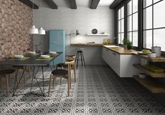 Boulevard patterned black and white floor tiles make beautiful replica Victorian tiles ideal for halls, bathrooms and kitchens. Terrazzo Flooring, Brick Flooring, Kitchen Flooring, Kitchen Tiles, Kitchen Design, Penny Flooring, White Flooring, Garage Flooring, Modern Flooring