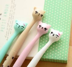 Candy Color Cat Pen Set (Pack of 4 Pieces) - Totemo Kawaii Shop