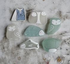 Beach Glass Collection of Seven  Jizo Owls Fish Fox by LillaJizo, $110.00