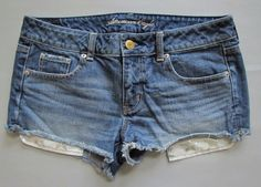 "American Eagle Denim Shorts 10 Shortie Jean Distressed 2"" Cutoffs Star long pckt #AmericanEagleOutfitters #Denim"