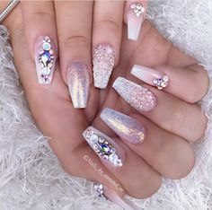 Bling pretty in pink nails