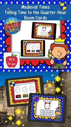 My Medieval Times Telling Time to the Quarter Hour Digital Task Card set includes 40 task cards which are accessed via Boom Learning. Each digital task card focuses on telling time to the quarter hour using both digital and analog clocks. The cards feature various interactive activities including drop and drag, word problems, and multiple choice. All task cards are accented with bright colors and Medieval Times themed graphics. #teacherspayteachers #tpt #boomcards #boomlearning Interactive Activities, Math Resources, Math Activities, Math Games, Fun Math, Math Lessons, Math Skills, Math Workshop, Medieval Times