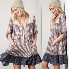 CALYPSO print tunic dress -BLUE/TAUPE Also available in slate blue mix. NO TRADE, price firm Bellanblue Dresses