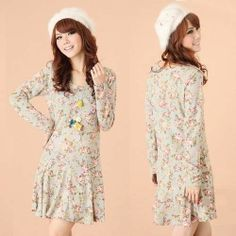 Korean Casual Womens Mini Dress Long Sleeve Floral Print Summer Pleated New 4924 | eBay