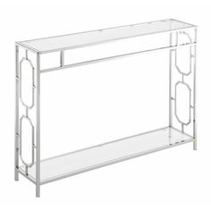 Convenience Concepts Omega Chrome Console Table With Clear Glass Steel Sofa, Coffee Table With Shelf, Home Bar Designs, Modern Contemporary, Clear Glass, Storage Spaces, Chrome, Omega, Living Room