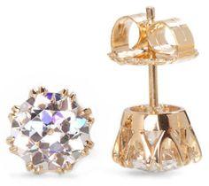 2 carats each Old European Cut faux diamonds set in 14 kt yellow gold