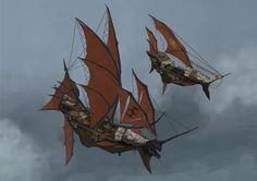 Steampunk Ship, Arte Steampunk, Flying Ship, Flying Boat, Treasure Planet, Creature Concept Art, Fantasy Inspiration, Fantasy Landscape, Ship Art