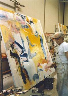 Willem de Kooning working on <em>Untitled III</em>, 1981, in his studio, East Hampton, Long Island