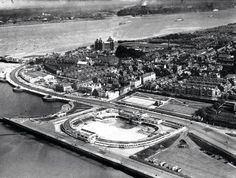 An old aerial of New Brighton and the River Mersey, looking toward Liverpool. Liverpool Town, Liverpool History, Empty Pool, New Brighton, You'll Never Walk Alone, Southport, British History, Old Photos, Paris Skyline