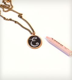 Oval Chalkboard Charm Necklace