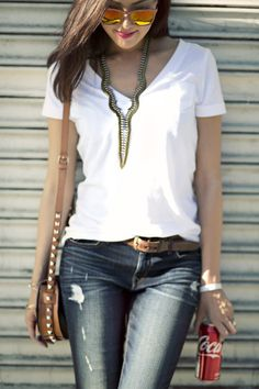 7afc888b8d88 White Tee  amp  Ripped Denim Jeans from thechrisellefactor.com Ripped Denim
