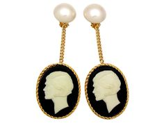 Authentic Vintage Chanel earrings COCO cameo