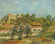 Peinture d'Algérie - Peintre Français, Louis Randavel (1869 à Bône -1947), Huile sur panneau, Titre : Vue sur Bouzareah à Alger.