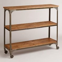 One of my favorite discoveries at WorldMarket.com: Wood and Metal Aiden 3-Shelf Console Table