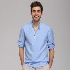 Linen Shirts Blue Linen shirts for men chinese