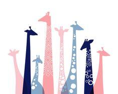 "16X20"" giraffes landscape giclee print on fine art paper. pink, dusty blue, navy. on Etsy, $40.00"