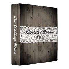 White Lace Rustic Wood Wedding Planner Monogrammed 3 Ring Binder - barn wedding gifts template diy customize personalize marriage
