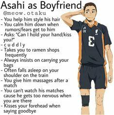 Asahi as Boyfriend ❤. I just want to protect him so bad. Haikyuu Karasuno, Haikyuu Funny, Haikyuu 3, Haikyuu Fanart, Haikyuu Ships, Daichi Sawamura, Hinata Shouyou, Kagehina, Boyfriend Best Friend