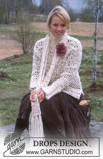 Crocheted pullover and scarf in Ull-Flam� edged in Eskimo (DROPS 91-26)