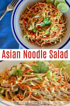 Asian Noodle Salad with peanut dressing is a great alternative to your typical lunch salad. It is filling enough to keep you fueled all day long thanks to protein-packed peanut butter and fiber-filled whole wheat noodles. Easy Salad Recipes, Easy Salads, Easy Healthy Recipes, Healthy Side Dishes, Side Dishes Easy, Main Dishes, Barbecue Recipes, Grilling Recipes, Bbq