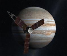 Juno Spacecraft passing in front of Jupiter (artist's depiction).