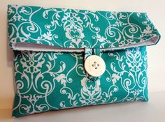 Makeup Bag in Turquoise Trellis - Size MediumItems similar to READY TO SHIP Set of 3 Bridesmaid Bags in Amy Butler Fabrics - Yellow and Gray Wedding - Bridemaids Clutches on Etsy Pochette Diy, Amy Butler Fabric, Bridesmaid Bags, Pouch Pattern, Fabric Bags, Sewing For Kids, Handmade Bags, Bag Making, Clutch Bag