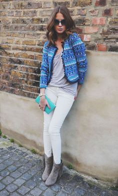 White jeans for fall note: Millie Mackintosh, London Millie Mackintosh Fashion, Spring Summer Fashion, Spring Outfits, Winter Fashion, I Love Fashion, Fashion Looks, Glamour, Blazer, Her Style