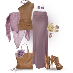 'Lilac & Brown', created by ladyjaynne on Polyvore