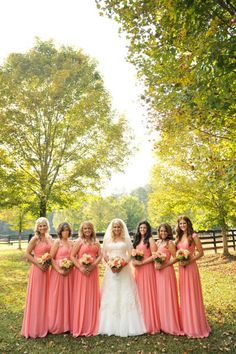 Coral bridesmaid dresses :) Pretty and simple!