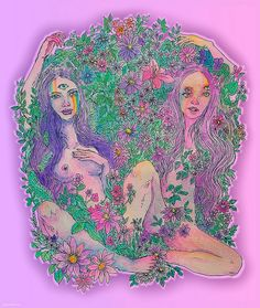 "fuckyeahpsychedelics: "" ""Hazy Field People"" by aspartamee "" Illustrations, Illustration Art, Acid Art, Psy Art, Hippie Art, Art Hoe, Photo Wall Collage, Dope Art, Psychedelic Art"