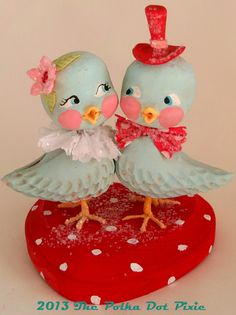 Vintage lovebirds Valentine inspired folk art by Jenny at the Polka Dot Pixie