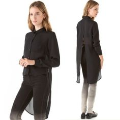 HP✨Cheap Monday 'Howin' Split Back Blouse Host pick on 6/25! Never worn, awesome black Cheap Monday high/low split back chiffon blouse in the style 'Howin'. A unique piece to own! Cheap Monday Tops Blouses