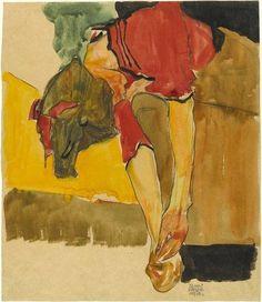 Egon Schiele, Girl putting on shoe on ArtStack #egon-schiele #art