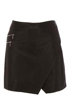 Wrap leather mini skirt | Luxury Women's modernmod | Karen Millen