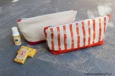 "DIY.. Colorful Canvas Pouches. Use 12"" x 12"" cotton canvas sheets and make colorful pouches. Hand print a funky stripe for extra fun. Tutorial www.haberdasheryfun.com"