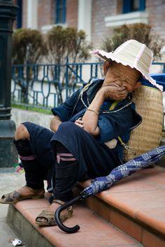 Nap time . Sapa Town of Lao Cai Province . Vietnam