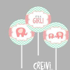 Instant Download Coral, Peach, Mint Elephant Girl baby shower, cupcake toppers, Boy baby shower toppers, DIY, Printable ( EL010) - http://babyshowercupcake-toppers.com/instant-download-coral-peach-mint-elephant-girl-baby-shower-cupcake-toppers-boy-baby-shower-toppers-diy-printable-el010/