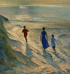 """""""For all the beach moms out there. A gorgeous painting by Timothy Easton available as print and greeting card."""""""