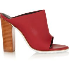 Tibi Bee rubber and leather mules (225 BRL) ❤ liked on Polyvore featuring shoes, red, mule shoes, leather mules, leather slip-on shoes, red high heel shoes and high heel shoes