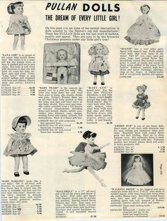 1960 AD Pullan Dolls Lana Lee Baby Tears Mary Ann Joanie Sweet Sue Walking Bride
