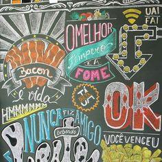Chalkboard by Bruna Brom - Blackboard - Quadro Negro Mais Chalkboard Wall Art, Chalk Wall, Chalkboard Lettering, Chalkboard Ideas, Cafe Design, Store Design, Chalk Drawings, Blackboards, Wall Drawing