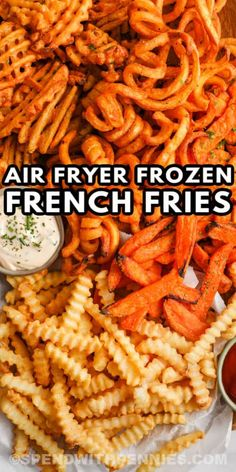 Ever wonder how long to cook air fryer frozen french fries? It's a cinch to cook up a batch with this quick and easy recipe. #spendwithpennies #airfryerfrozenfrenchfries #frozenfrenchfries #frenchfries #sidedish #recipe #cook #howto #airfryer #crispy #time Oven Baked French Fries, Best French Fries, Air Fryer French Fries, Air Fryer Oven Recipes, Air Frier Recipes, Air Fryer Dinner Recipes, Grilling Recipes, Cooking Recipes, Frozen Sweet Potato Fries