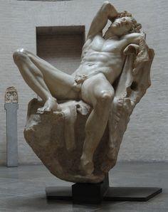 Sleeping Satyr, or the Barberini Faun Date: circa 220 BCE. Medium: marble. Dimensions: 215 cm (84.6 in). Glyptothek, Munich