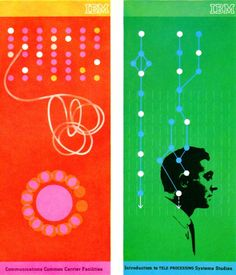 IBM Booklets  Folders from IBM's data processing division. Illustration by Clarence Lee. From Graphis Annual 63/64.