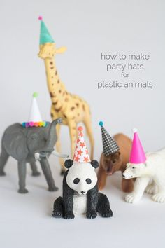 to Make Party Hats for Plastic Animals (they deserve to celebrate too!)How to Make Party Hats for Plastic Animals (they deserve to celebrate too! Safari Party, Jungle Theme Parties, Circus Party, Zoo Party Food, Circus Wedding, Circus Circus, Elmo Party, Mickey Party, Themed Parties