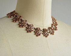 Vintage 50s Renoir Copper Necklace / 1950s Signed Scroll Link Choker