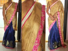 Code: RS025  Half and half saree with self printed gold shimmer georgette finished in pink,gold borders and self weaved navy banaras silk for pleates.  Blouse: Pink raw silk for body and pink brocade for hands  Price: INR 2800  Please mail us at ramanisarees@gmail.com